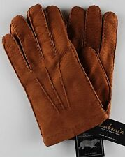NWT LABONIA GLOVES carpinchos peccary leather brown cashmere handmade Italy 9