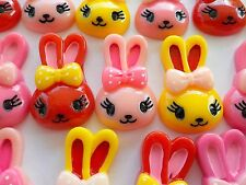 50! Easter Bunny Bow Mix Flatback Resin Embellishments Pink Red Yellow 35mm/1.4""