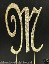"GOLD Plated Rhinestone  Monogram Letter ""M""  Wedding Cake Topper  5"" inch high"