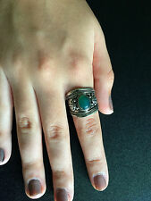 Ring Big Silver Green Jade Hippie Boho Gypsy Tribal Belly Dance Bohemian