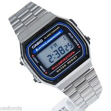 Casio A168WA-1 Classic Digital Stainless Steel Watch Alarm Chronograph