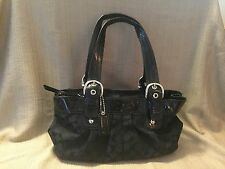 Authentic Coach Satchel Signature Bag In Black With Patent Leather Trim