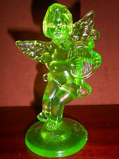 Green Vaseline glass Angel Cupid firgurine harp uranium heaven radioactive child