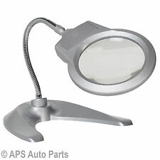 Desktop Magnifier 2 Super Bright LEDS Flexible Neck Nail Artist Reading Inspect