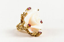 VINTAGE Cream 14K Yellow Gold Resin & Ruby Carved Rose Statement Ring SZ 6.5
