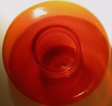 Vintage Fiery Red-Orange Blown Glass Candle Holder Handmade in Poland