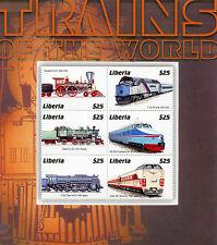 Liberia 2004 MNH Trains of World 6v M/S Railways Treni Chemin de Fer Züge Stamps