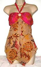Fashion Bright Alter Top Blouse in Pink Orange and Brown One Size (S-L) NWT