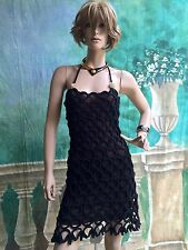 Chanel Runway Black Eyelet Macrame Knit Halter Dress Sz US6 IT38