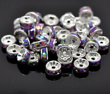 8mm PURPLE AB Coated Rhinestone Silver Plated Rondelle Beads 10 pcs bme0191a