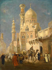 Stunning Oil painting Egypt Cairo street scenery people in the market & camel