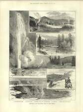 1883 Yellowstone Park Sketches Flyfishing Snake River Boiling Springs
