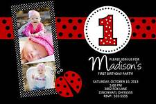 Lady Bug Birthday Party Invitation Any Number of Photos, Colors or Age
