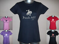 NEW BUCK OFF! LADIES FUNNY HORSE T-SHIRT, S M L XL XXL PLAIN / GLITTER