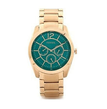 NWT Fossil Women's Watch Rose Gold Bracelet Teal Dial Chronograph BQ1689 $135