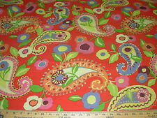 ~1 2/8 YDS~RICHLOOM~PAISLEY FLORAL~ COTTON UPHOLSTERY FABRIC FOR LESS~REMNANT~