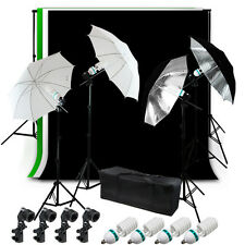 BWG Muslin Backdrop Complete Umbrella Lighting Background Kit Photo Studio Kit