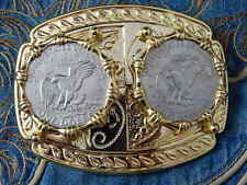 NEW LARGE DOUBLE USA DOLLAR EAGLE BELT BUCKLE GOLD METAL WESTERN COWBOY GOTH