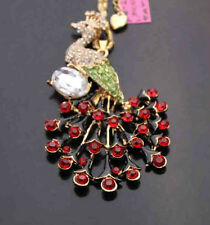 D552W     Betsey Johnson Crystal Enamel Peacock Pendant Sweater Chain Necklace