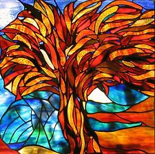 RED FLAMING GUM TREE Australian Stained Glass Window or Suspended Art Panel gift