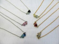 Wholesale 12 PCS Double Heart Crystal Charm Necklaces Assorted Colors # 1236 New