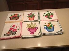 Vintage Liquid  Embroidered Dish Tea Towels  6 Flowers Foliage Pots Crochet Edge