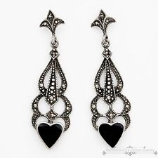 Antique Vintage Deco Style Sterling Silver Onyx Marcasite Womens Heart Earrings!