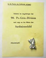 German Badge Sardinienschild Sardinia Shield Italy Anzio WW2 Cassino Certificate