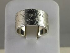 Polished! Tiffany & Co. Silver 727 Fifth Avenue New York WIDE Notes Ring Sz 6.75