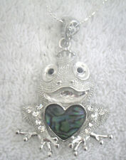 Necklace/Pendant Frog Abalone Shell rhinestone toad prince charming heart crown