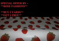 Red Strawberry Fruit Tablecloth Easy Wipe Vinyl PVC Oilcloth, Fabric, Material