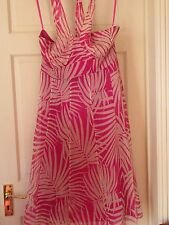 MONSOON ~ LONG pink & white SILK EVENING PARTY DRESS SIZE 14
