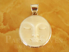 Beautiful Moon Face Carving Bali Sterling Silver 925 Pendant T165