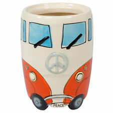 Orange & Cream Ceramic Camper Van Kitchen Utensil Holder Storage Jar Pot Caddy