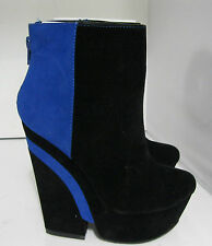 "privileged Blacks/royal blue 5.5""high  heel 2"" platform sexy ankle boot Size 6.5"