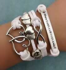 NEW Infinity Love Heart Friendship Antique Silver Leather Charm Bracelet Cute