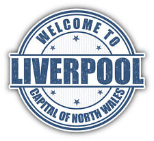 "Liverpool City England Grunge Travel Stamp Car Bumper Sticker Decal 5"" x 4"""