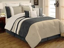 8 PC Grey, Beige & White Striped Micro Suede King Comforter Bedding Set