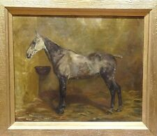 Fine Large 19th Century Grey Hunter Horse Stable Portrait Antique Oil Painting