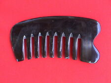 """4.24"""" BLACK WIDE BLUNT TOOTHED MASSAGE OX HORN HAIR COMB - GOOD FOR ALL HAIR!"""