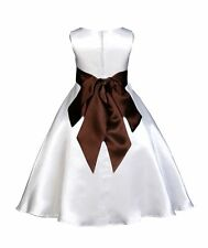 WHITE WEDDING PAGEANT FLOWER GIRL DRESS 12-18m 2 2T 3 3T 4 4T 5 6 6X 8 10 12 14