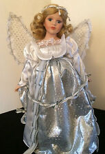 """Porcelain Doll Christmas Angel with Blonde Hair 15"""" silver gown with lace wings"""