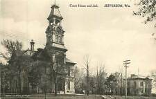 Wisconsin, WI, Jefferson, Court House & Jail Albertype Postcard
