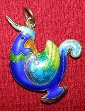 ANTIQUE CHINESE EXPORT STERLING  ENAMEL BIRD PHEASANT PENDANT MARKED SILVER