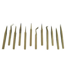 12 Pc Anti-magnetic Precision Tweezer Set Beading Jewelry Non Magnetic Tweezers