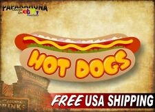 "HOT DOGS Cartoon 12"" Vinyl Decal Hotdog Cart Roller Steamer Menu Sign Stickers"