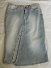 "LADIES GUESS JEANS M BLUE FADED DENIM MAXI PENCIL SKIRT FRONT VENT W 30"" 76cm"