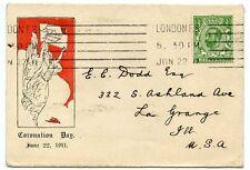 """Raro 1911 ½ D Verde """" Downey Cabeza """"coronación Día Fdc a Estados Unidos"""