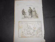 1836 STEEL ENGRAVING SPAIN COSTUMES OF TOLEDO BATTLE OF ESPINOSA DE LOS MONTEROS