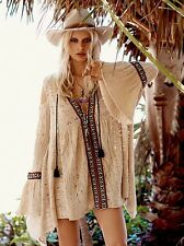 FREE PEOPLE Love Flowers Cold Shoulder Embroidered Tunic Dress NEW SZ S